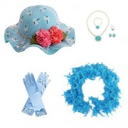 GILAND Girls Tea Party Set Dress up Play Sunhat, Feather Boa, Gloves and Jewelry (Blue)