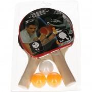 Merkloos Tafeltennis set / 2 batjes en tafeltennisballetjes