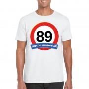 Bellatio Decorations Verkeersbord 89 jaar t-shirt wit heren