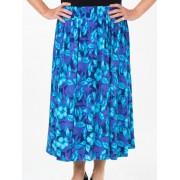 Seniors Choice Blue Floral Skirt - Blue L