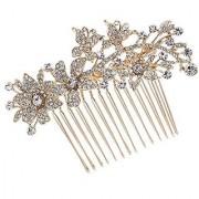 Butterfly Hair Pins Flower Hair Comb Bridal Wedding Jewelry Women Hair Accessories Austrian Crystals Combs 2256R (Golden)