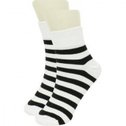Neska Moda Men 1 Pair White and Black Ankle Length Socks ON43
