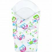 New Baby Păturică bebe cu umplutură de cocos Bufnițe, 75 x 75 cm