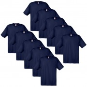 10 Fruit of the Loom Original T-shirt 100% Cotton Navy S