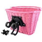 Cos pentru bicicleta portabil cu maner, model impletit cu montare pe ghidoane, Culoare Roz