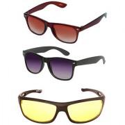 Magjons Wayfarer Sunglasses Combo Yellow Driving Goggale Set of 3 With box MJK01