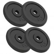 vidaXL Discos de musculação 4 pcs 20 kg ferro fundido