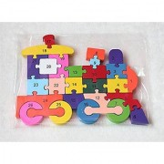 Wooden Jigsaw Puzzle Train Toy With A-Z English Alphabets And Numbers Puzzle - Jigsaw Blocks Multicolor (26 Pieces)