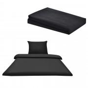 Комплект спално бельо [neu.haus]® плик (155x200cm), чаршаф (90-100x200cm) , калъф за възглавници, Черен