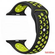 Apple watch szilikon óraszíj, Fekete/Zöld