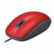 Logitech M110 Silent - Rato - destros e canhotos - óptico - 3 botões - com cabo - USB - vermelho