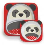 Skip Hop Zestaw jedzeniowy dla dzieci talerz dzielony + miska - naczynia dla maluchów Zoo Miś Panda,