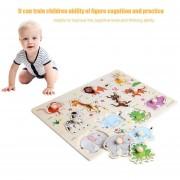 EB Baby Niños Madera Animal Jigsaw Puzzle De Aprendizaje Temprano Juguete Placa Educativa