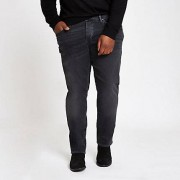 River Island Zwart / Big and Tall - Zwart e wash slim-fit jeans Heren