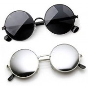 Elligator Round Sunglasses(Black, Silver)