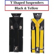 Suspender for Men Elegant Y-Shaped Back Combo of 2 Color Black and Yellow