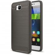 Para Huawei Disfrutar De 5 Y Y6 Pro Textura Cepillada TPU Funda Protectora De Fibra De Carbono (gris)