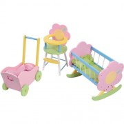 """Cp Toys Wooden Doll Cradle, High Chair & Carriage Fits 12"""" 15"""" Dolls For Pretend Play"""