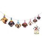 Gyzone Cartel de cumpleaños con Texto en inglés Happy Birthday Banner, para niña y niño, decoración de Fiesta, Labrador Face