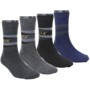 Neska Moda Men 4 Pairs Cotton Mid calf Length Socks Black Grey S753