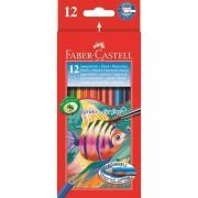 Creioane colorate Acuarela 12 buc + pensula Faber-Castell