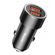 BASEUS QC3.0 Dual USB 36W Fast Car Charge Charger for iPhone Samsung - Black