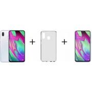 Samsung Galaxy A40 - 64GB - Wit +Transparant Hoesje + Screenprotector