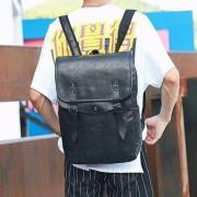 Rits effen kleur PU leder Double-schoudertas Messenger Bag voor mannen (zwart)