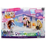 Moxie Girlz Doll Series Accessory Set - Magic Snow Cabin with Bat Table, Bar Stool, Couch, Firelogs with Simulated Fire, Radio, Fondue Pot, 2 Fondue Skewers, Tray, Muffin, Croissant, Milk Carton, 2 Tall Cocoa Cups, 2 Cocoa Mugs, Snow Shovel amd 1 Pack of