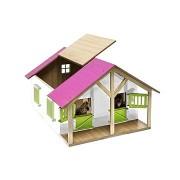Trading Micro Kids Globe lovak az istállóban fa játékház műhellyel - rózsaszín