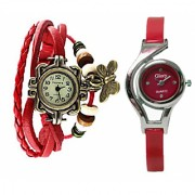2 Fancy watches Combo Butterfly Glory Brandedking By SSS deals(RED)