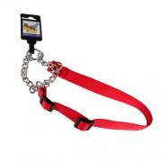 Hundhalsband stryp, justerbart av nylon, rött, 25mm x 45-70cm