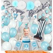 RainMeadow Decoraciones de primer cumpleaños para niño I 1er cumpleaños niño decoraciones azul, blanco, plata, gris conjunto de decoraciones para primer cumpleaños niño Kit completo Decoración para niño 1er cumpleaños