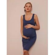 VERTBAUDET Vestido canelado de cavas, para grávida azul escuro liso com motivo
