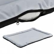 [en.casa] Cama para mascotas - cama para perros - con cremallera - tejido Oxford / algodón PP - 120 x 85 cm [XXL] - Gris / Negro