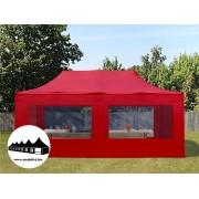 3x6m összecsukható pavilon panoráma ablakos Piros Professional ()