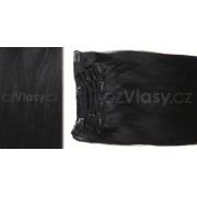 Clip in vlasy odstín 1B Sada: Základní - délka 50 cm, hmotnost 100 g