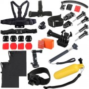 30 in 1 Chest Strap + Extension Arm + Tripod Mount Adapter + Head Strap + Floating Handle Grip + Extendable Handle Monopod + Helmet Belt Strap Lock Mount + Flat & Curved Mounts + Floaty Float Box + Helmet Strap Mount Adapter Set for GoPro HERO4 /3+ /