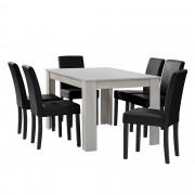 [en.casa] Mesa de comedor diseño - blanco - Set de sillas con estilo elegante - negro - 140cm x 90cm x 77cm
