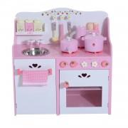 HOMCOM Cucina Giocattolo per Bambini in Legno con Accessori, Rosa, 60x30x62cm