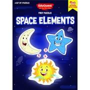 EduQuest - Jigsaw Puzzle - Space Elements - 2-4 years old - Set of 3 puzzles - 2,3,4 piece puzzles - Moon (2 pieces), Star (3 pieces), Sun (4 pieces)