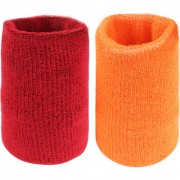 Neska Moda Unisex Maroon And Orange Pack Of 2 Cotton Wrist Band