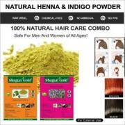 Shagun Gold Pure Organic Indigo Powder With Herbal Henna Powder 2x 400 Gram