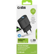 SBS Travel charger 100/250V 5100 mAh ultra fast charge USB output 2.1A + USB Type-C 3A black color