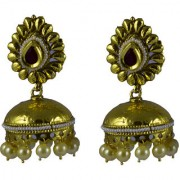 Pourni exclusive Designer Pearl Jhumka Gold finish Earring - PRER133