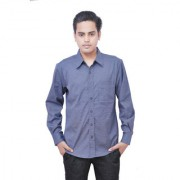 Cotton Grey Pin Line Formal Shirt by Blue Buton