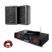 Skytec SPL 300 VHF amplificador PA en set 2 parlantes cable de altavoz negro (PL-10870-29672)