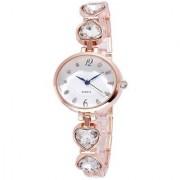 Fresh Designer Heart Studded Diamond Rose Gold Watch For Women and girls