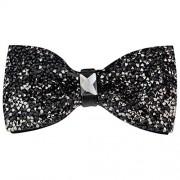 New Fashion Men Rhinestone Bow Tie Party Banquet Bowtie Wedding Accessories (Black B)