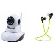 Zemini Wifi CCTV Camera and Jogger Bluetooth Headset for SAMSUNG GALAXY CORE 2(Wifi CCTV Camera with night vision |Jogger Bluetooth Headset With Mic )